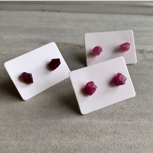 Raw Fuchsia Tourmaline Crystal Stud Earrings
